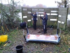 Fern, Kristian & Kieran prepare bench