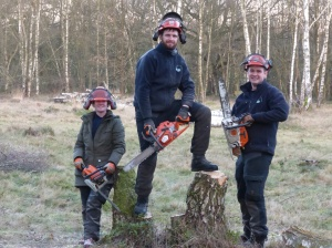 Sarah, Ben and I chainsawing