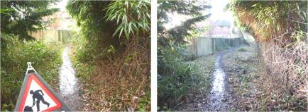 Yateley path NE view before and after