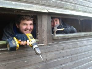 Students Josh & Gerry hiding