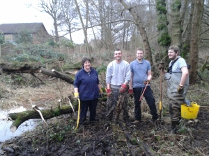 Sarah G, Sean, Tobias and Josh by cleared ditch
