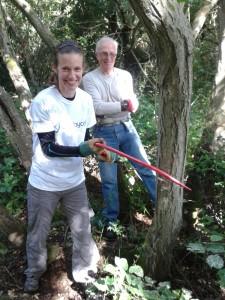 Paul teaching cutting gob for tree felling