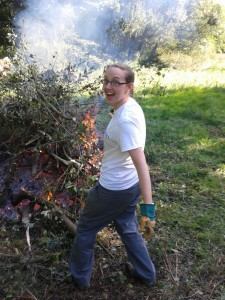 Rachel loading the fire