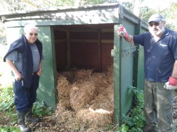 Proud Tony and Bob by repaired goat shed