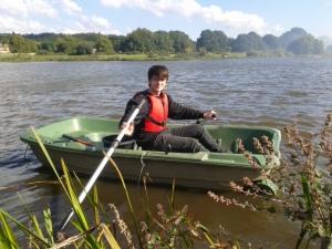 Student Alex boating