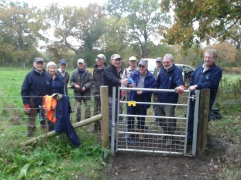 Volunteers with the shiny new gate