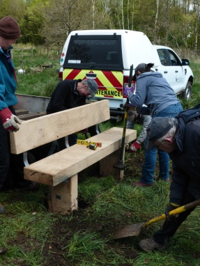 Installing new bench in Prior's Meadow