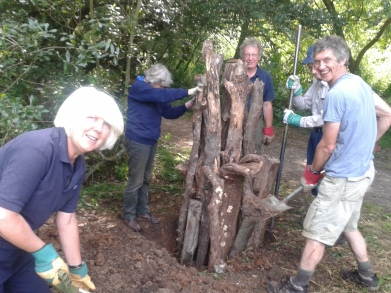 Sue leading the stumpery builders