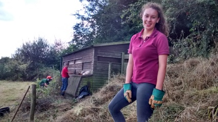 Hannah and the volunteers clearing the bird hide