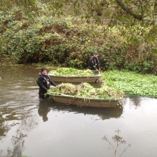 Adrian Bicknell and Stuart Keable braving the river