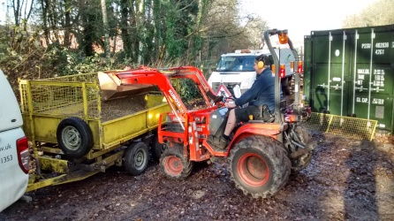 Stuart loading car park gravel with our baby Kubota tractor