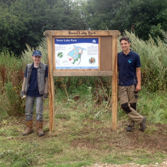 Jeremy and Sam along with the brand new info board!